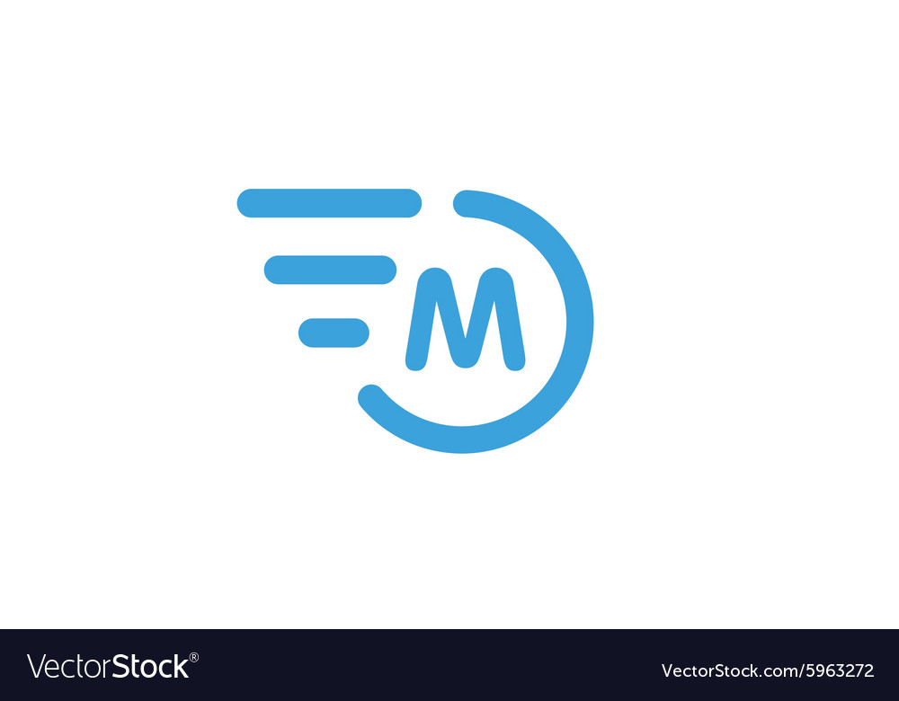 Fast line circle logo m rings monogram vector