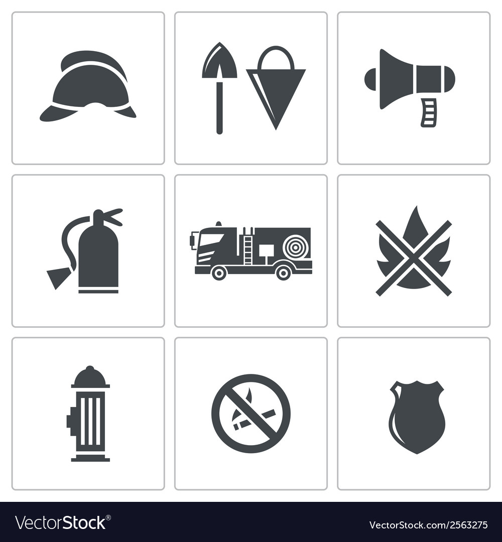 Fire service icons set vector