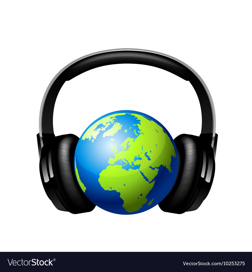 Globe with headphones vector