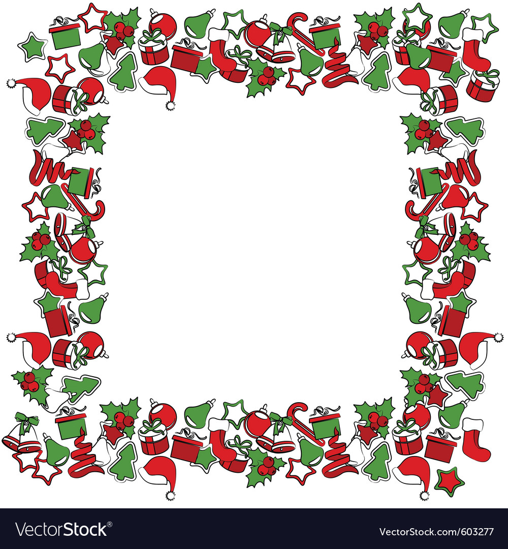 Blank christmas frame with traditional symbols vector