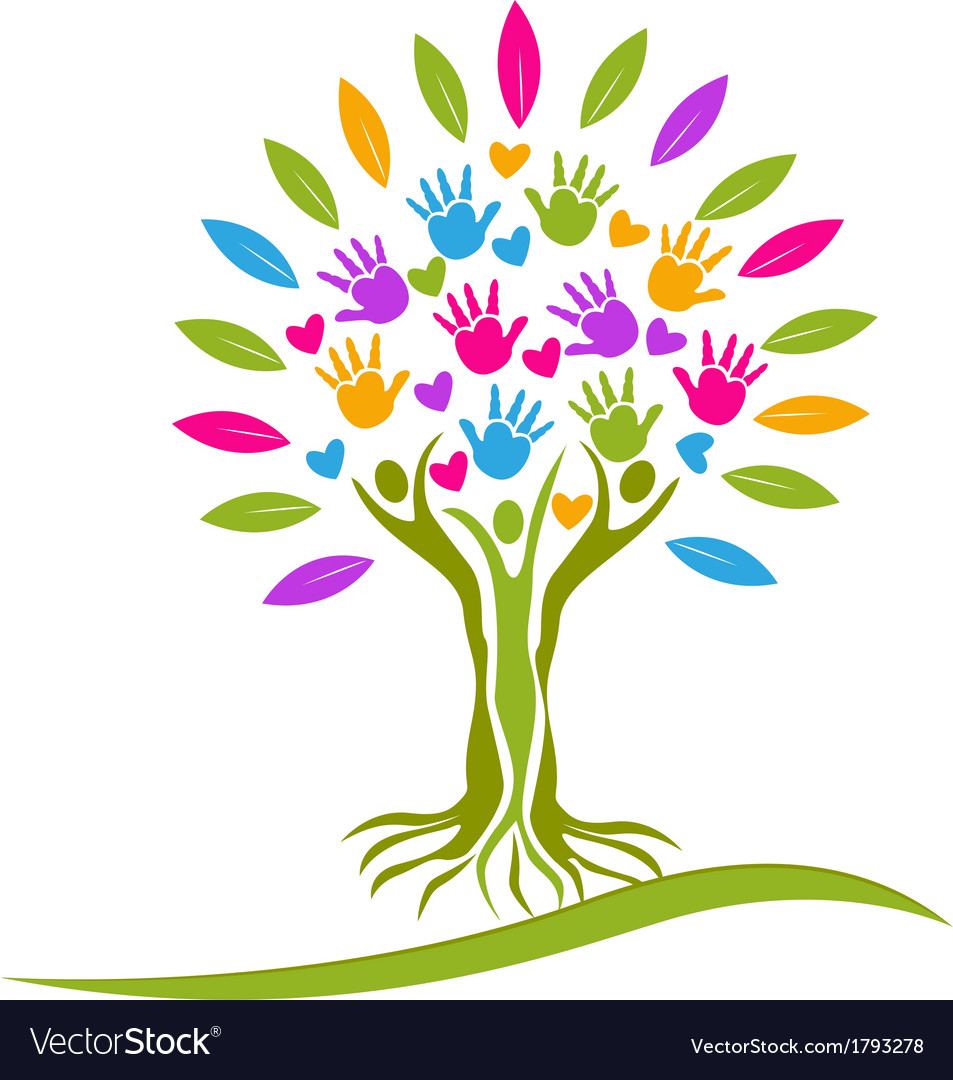 Tree people hands and hearts logo vector