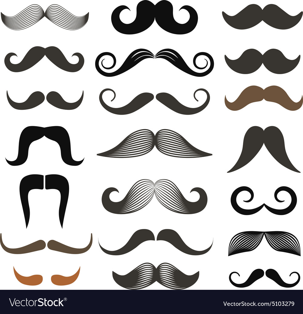 Different retro style moustache clipart set vector