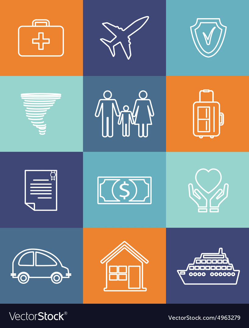 Family auto and home insurance flat icons vector
