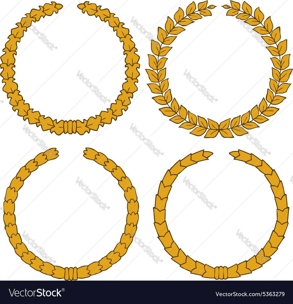 Four yellow wreath vector