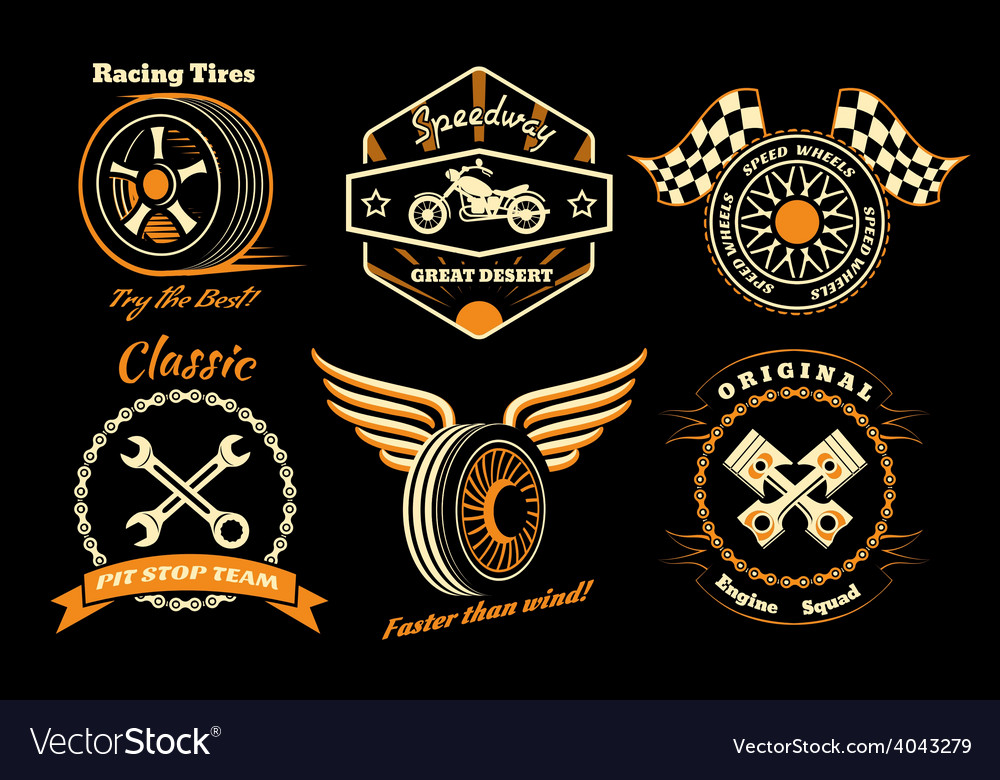 Set of racing badge vector