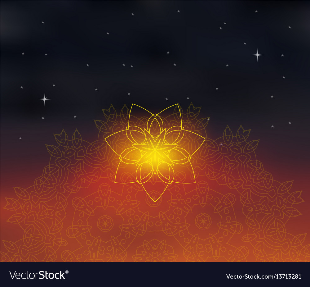Background with shiny floral mandala on blurred vector