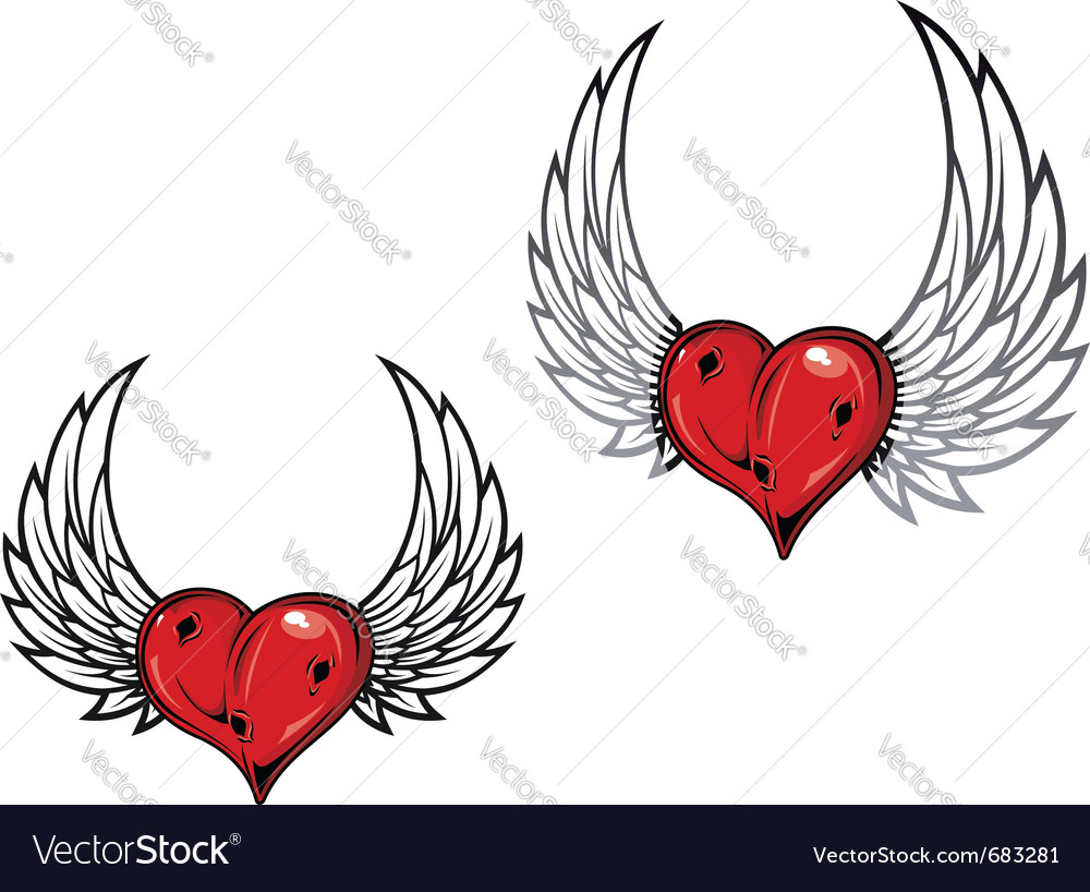 Heart and wings tattoo vector