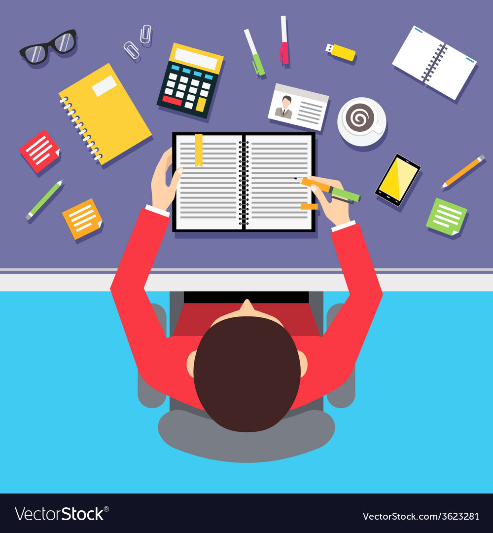 Top view businessman workplace vector