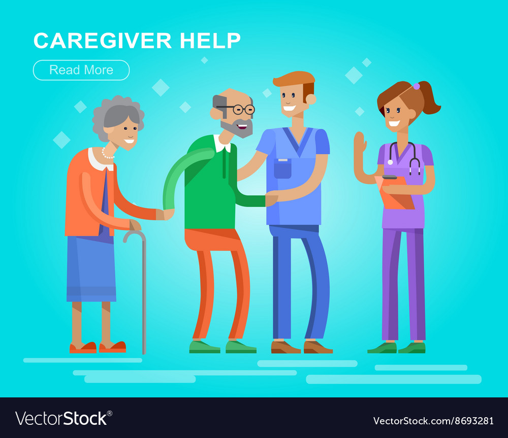 Young man and women caregiwer vector
