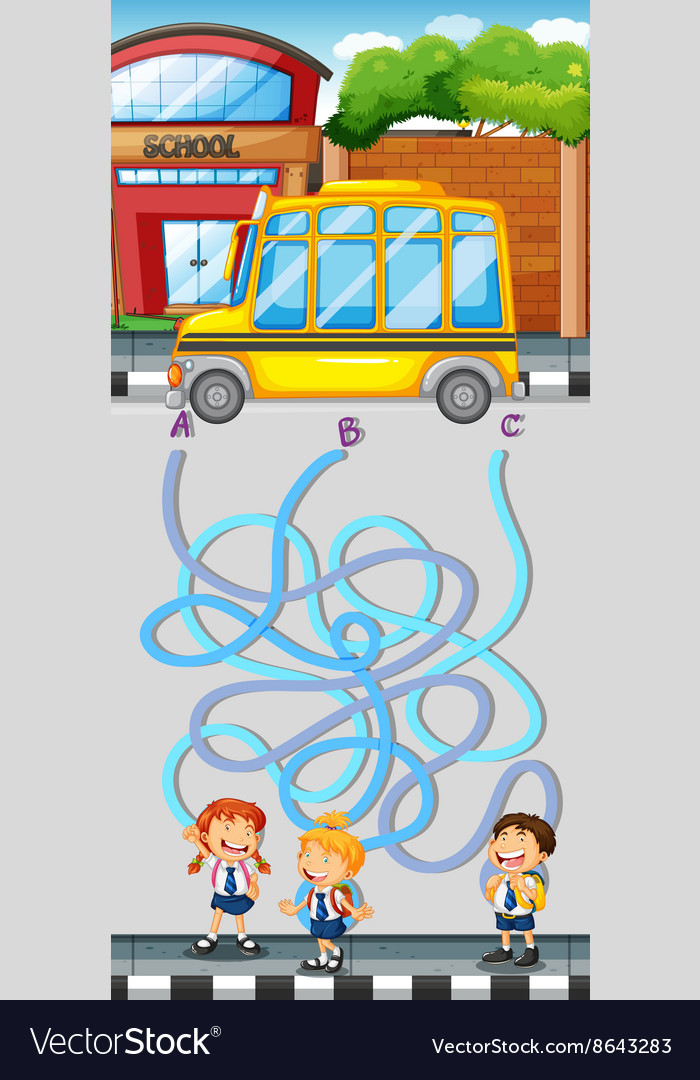 Maze game with students and school bus vector