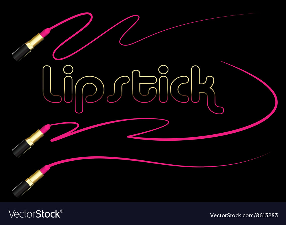 Pink lipstick with smear graphic stroke on black vector