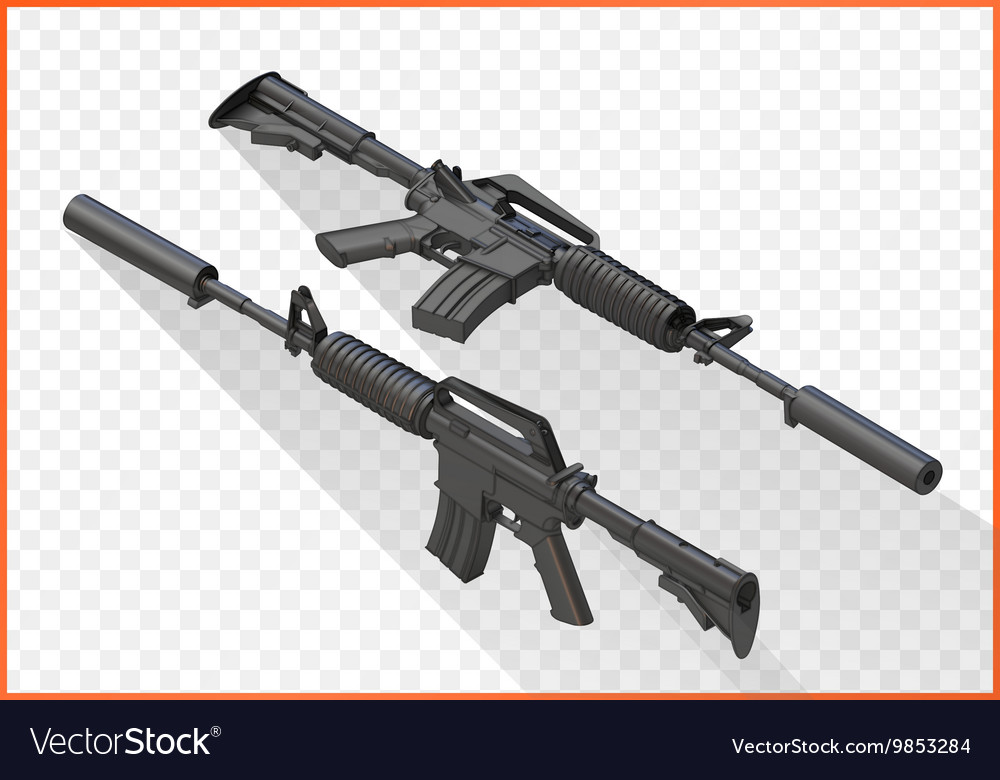 Assault rifle m4a1 isometric vector