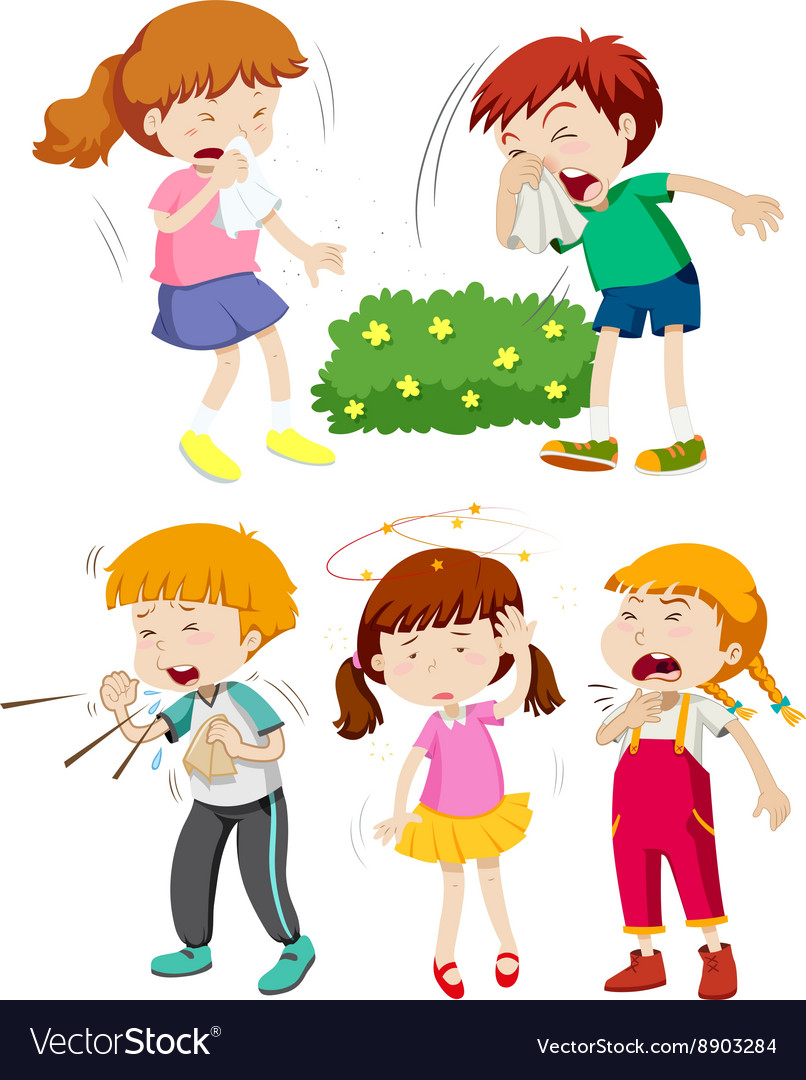 Children having cold and fever vector