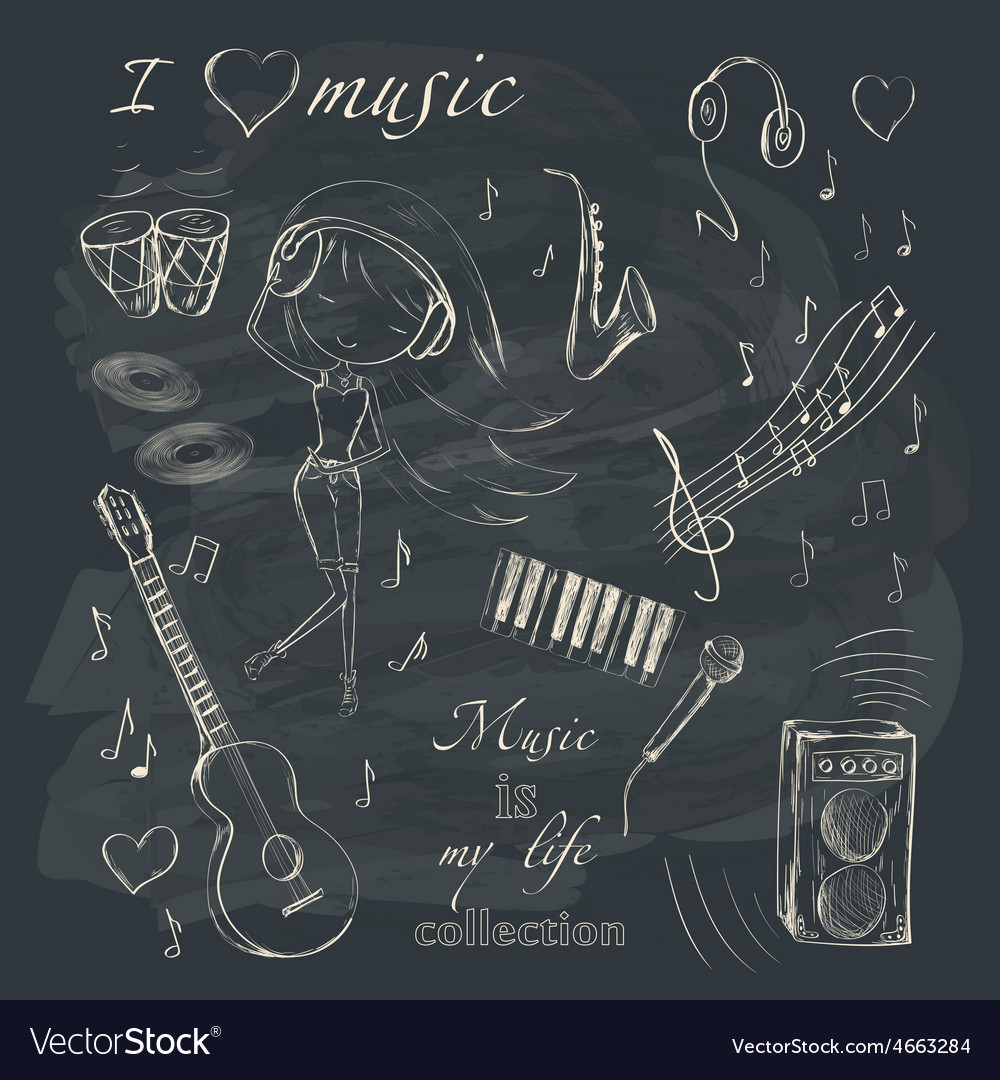 Music and accessories vector