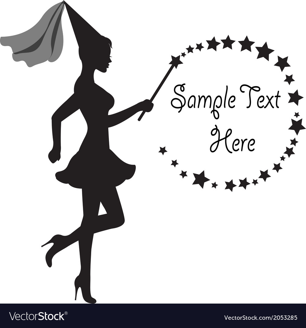 Fairy with a magic wand and frame of stars vector