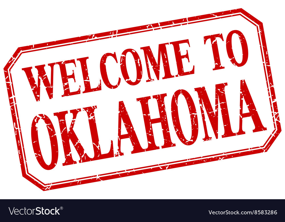 Oklahoma  welcome red vintage isolated label vector