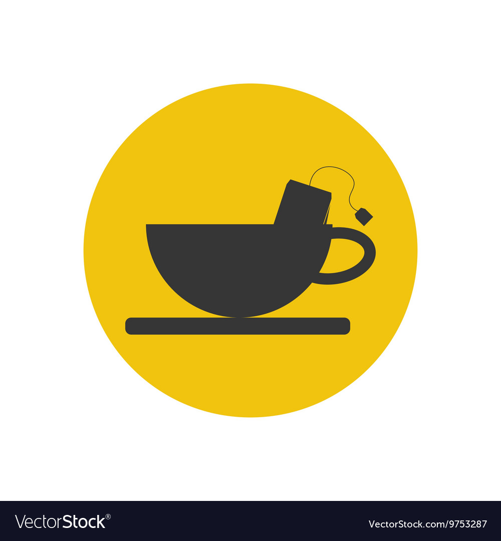 Cup and tea bag silhouette vector