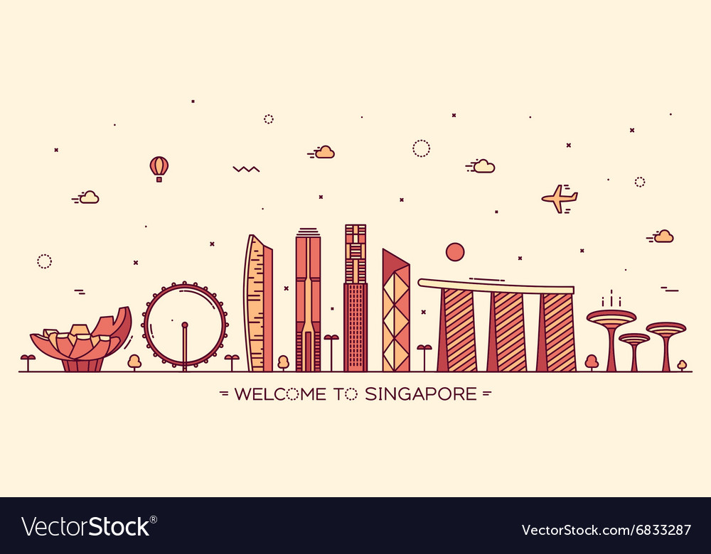 Skyline singapore linear style vector