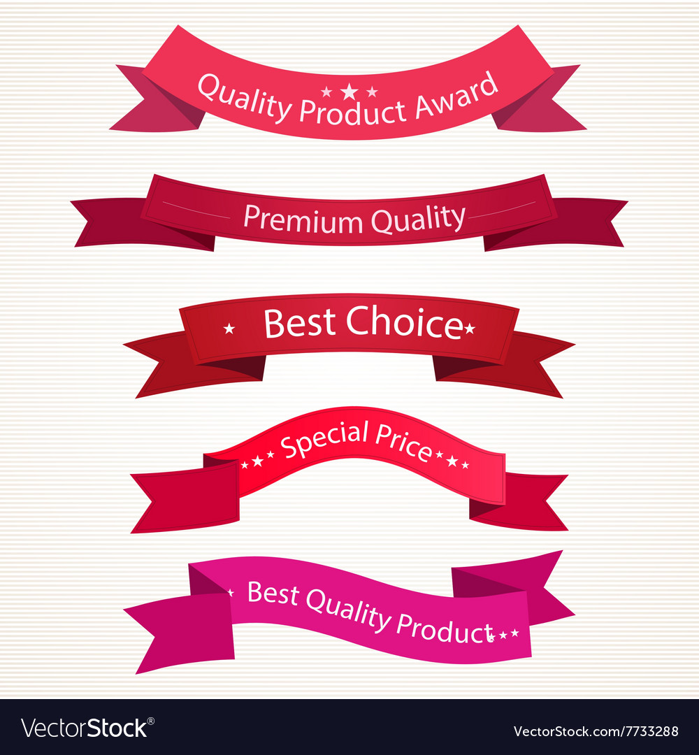 Quality ribbons in red tones vector