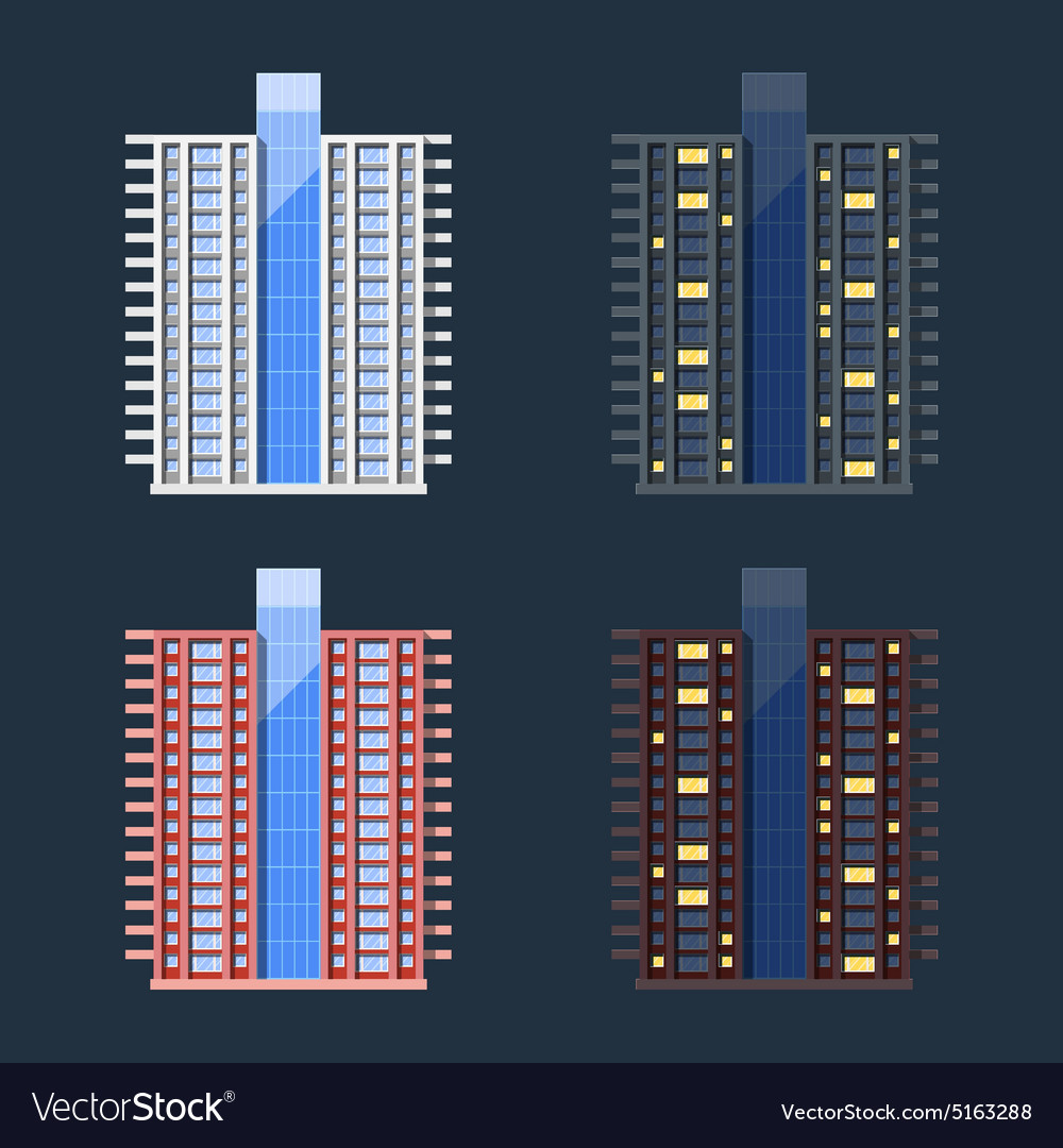 Set of highrise residential buildings in flat vector
