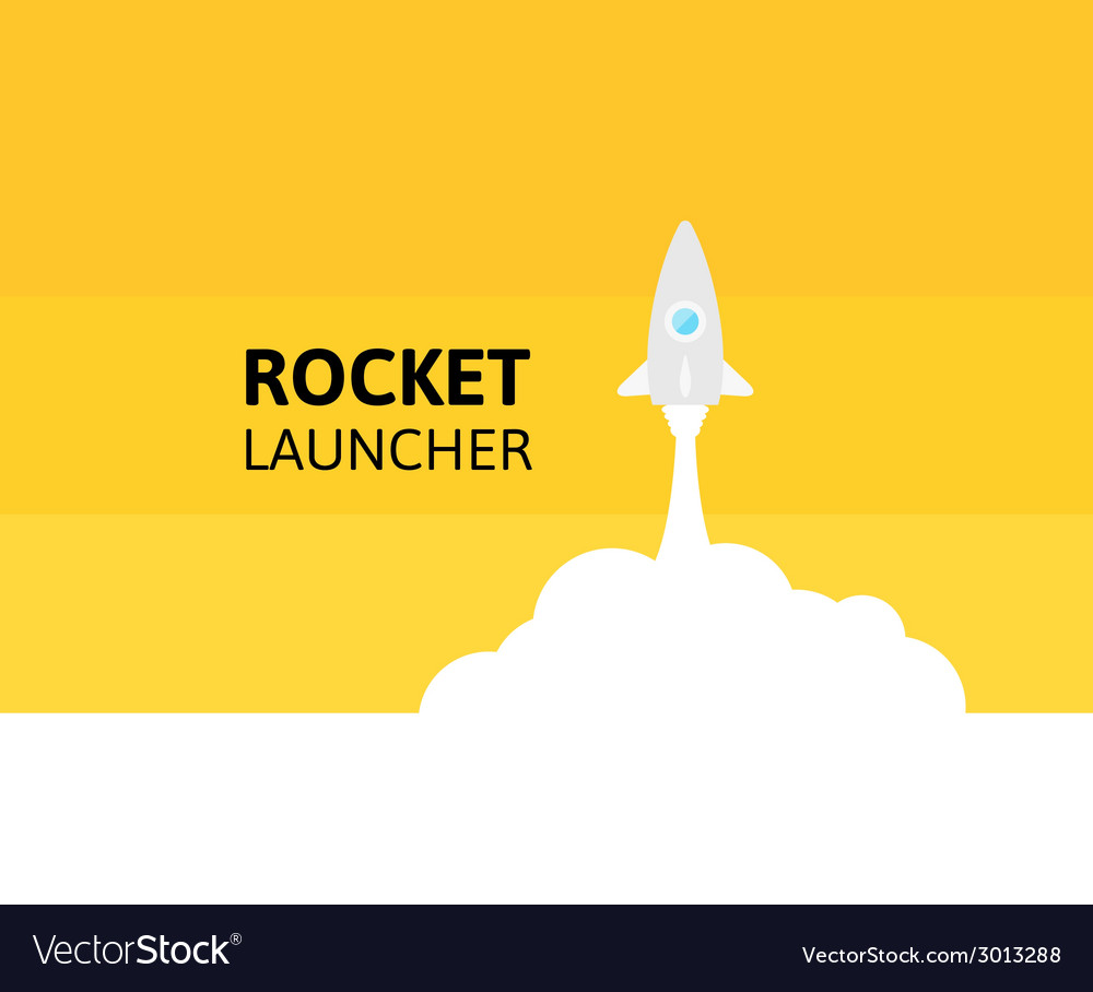 Yellow rocket and white cloud icon in flat style vector