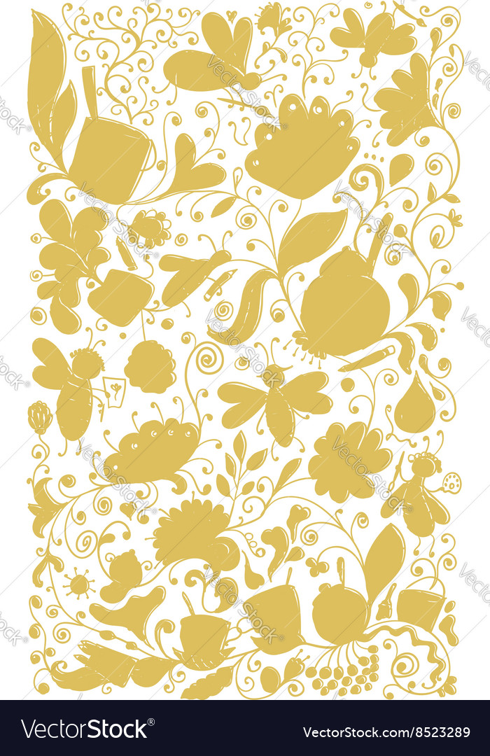 Abstract floral pattern sketch for your design vector