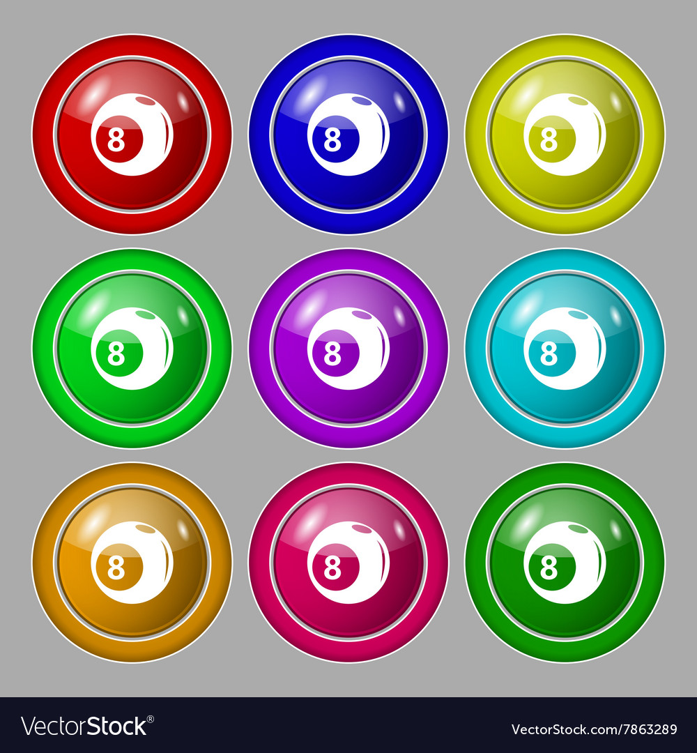 Billiards icon sign symbol on nine round colourful vector