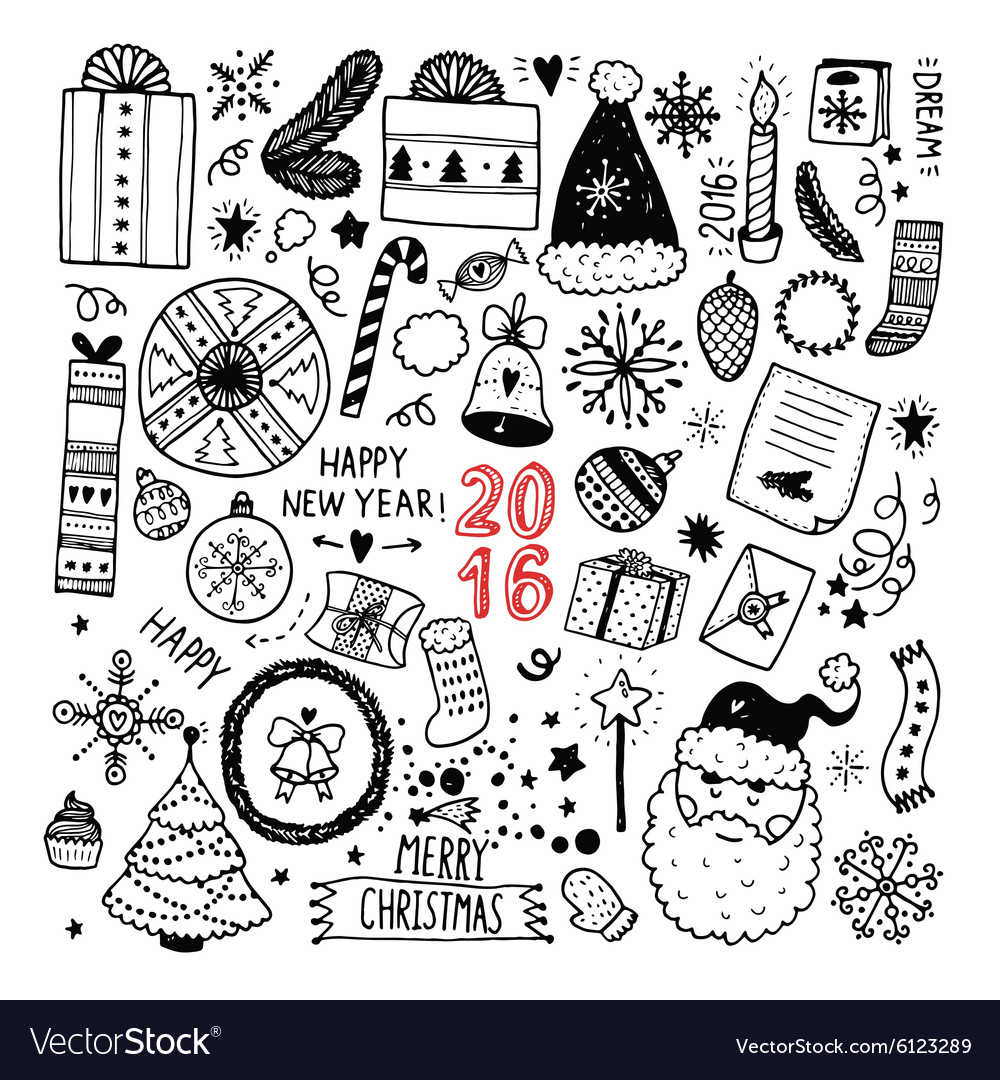 Christmas doodle collection vector