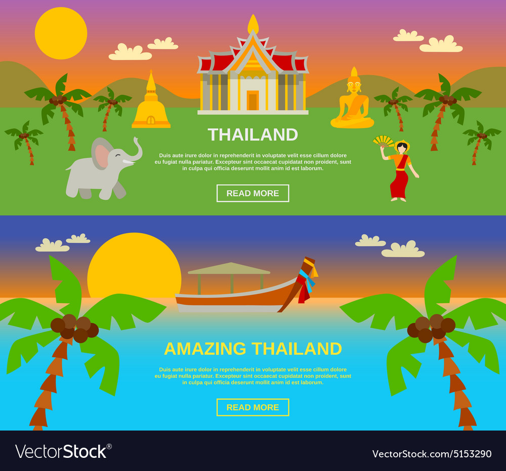 Amazing thailand banners set vector