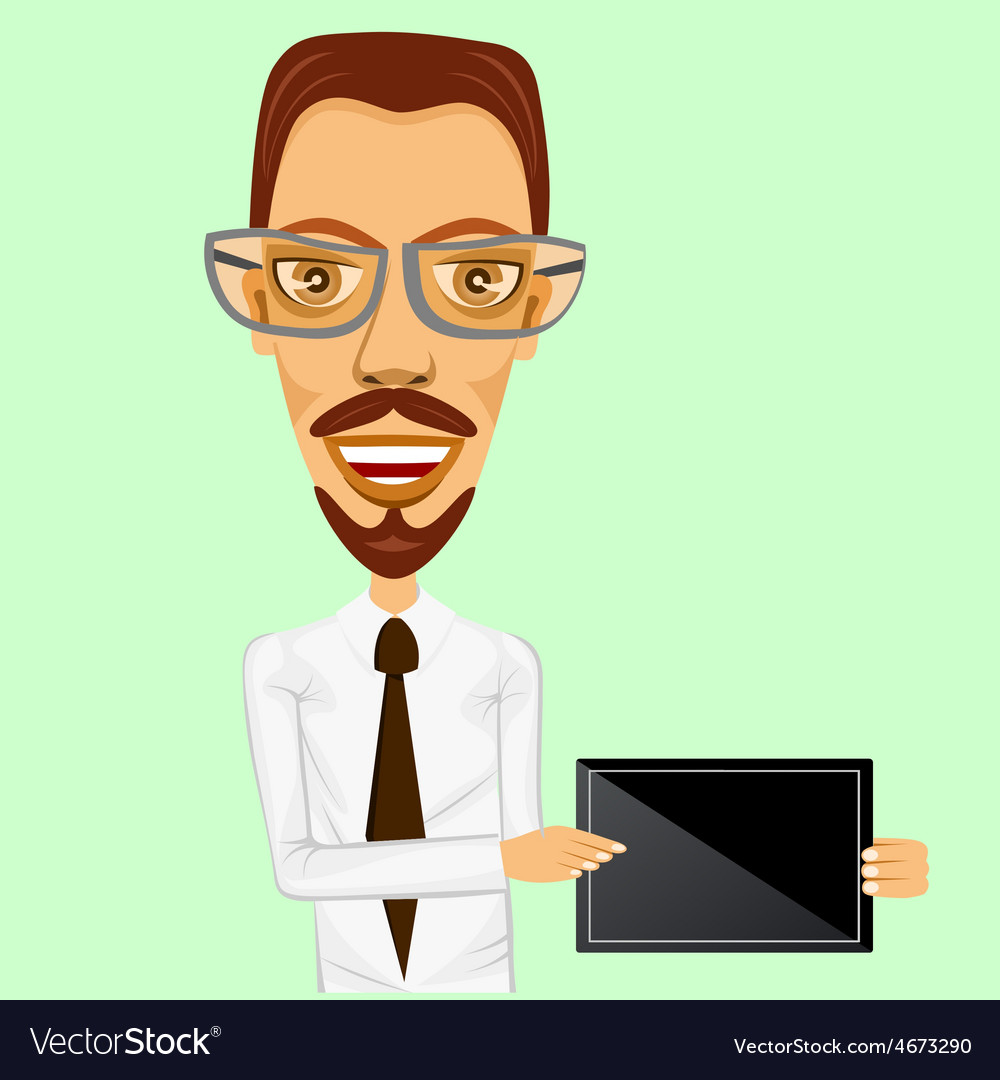 Business man holding tablet in two hands vector