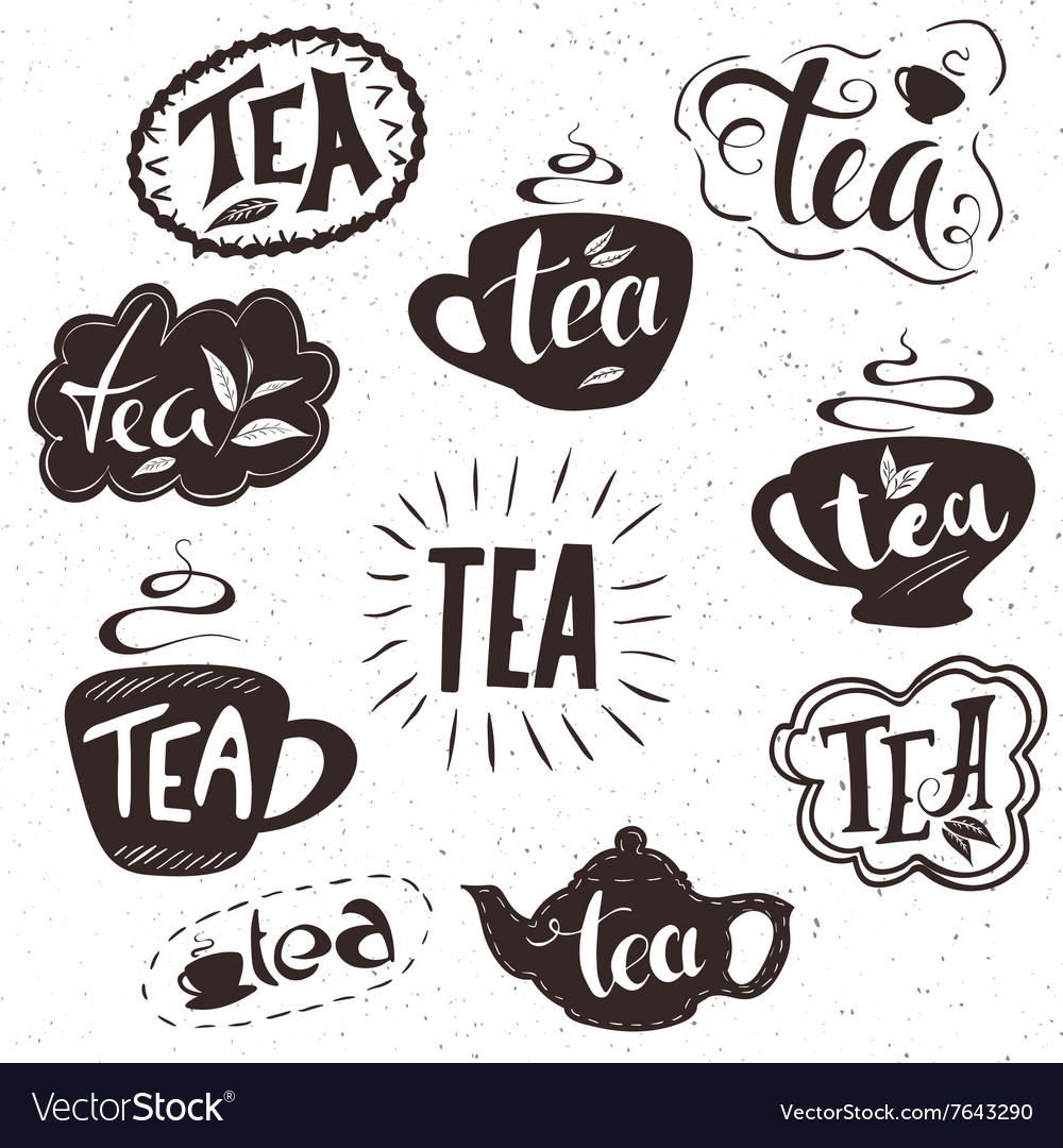 Hand drawn set of lettering tea badge labels signs vector