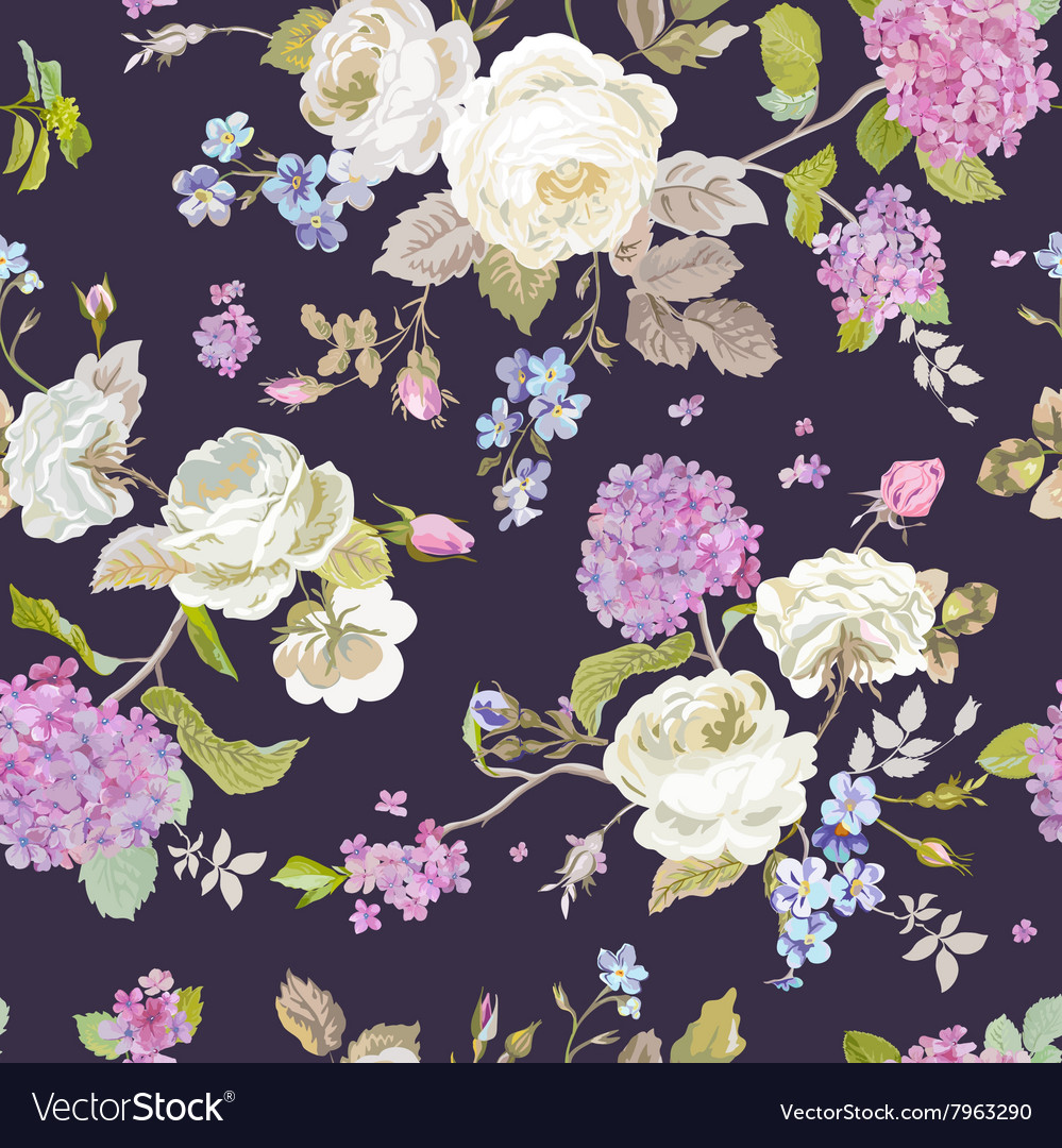 Seamless floral shabby chic pattern vector