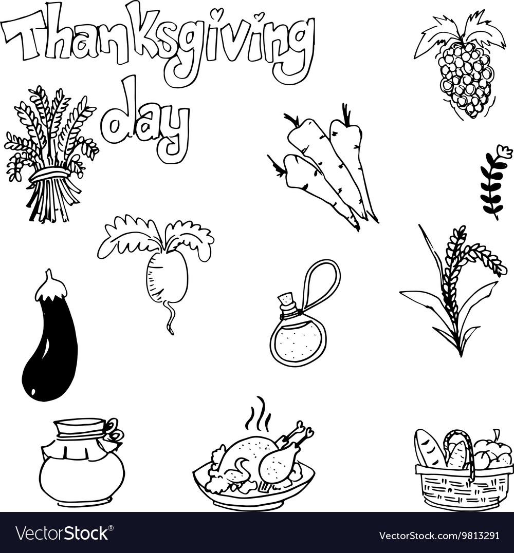 Doodle of vegetable thanksgiving vector
