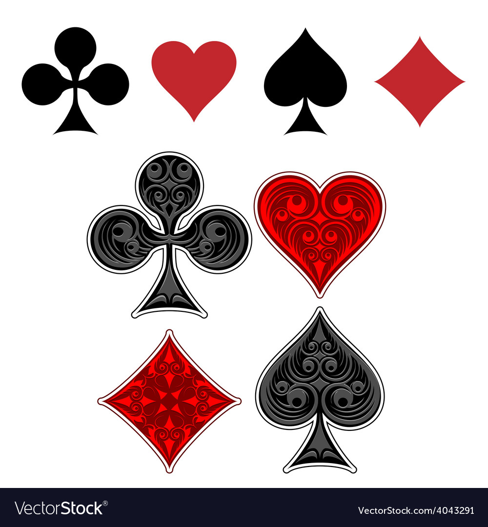 Playing card suit icons vector