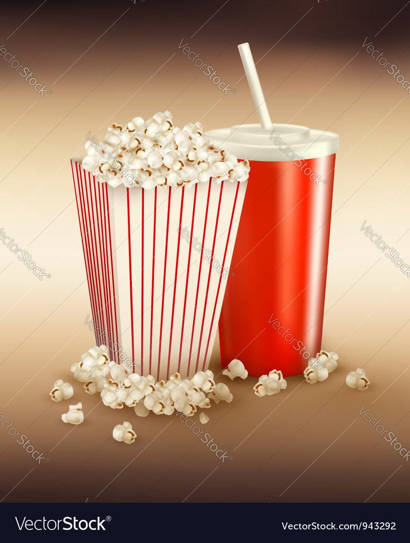 Popcorn box and cola vector