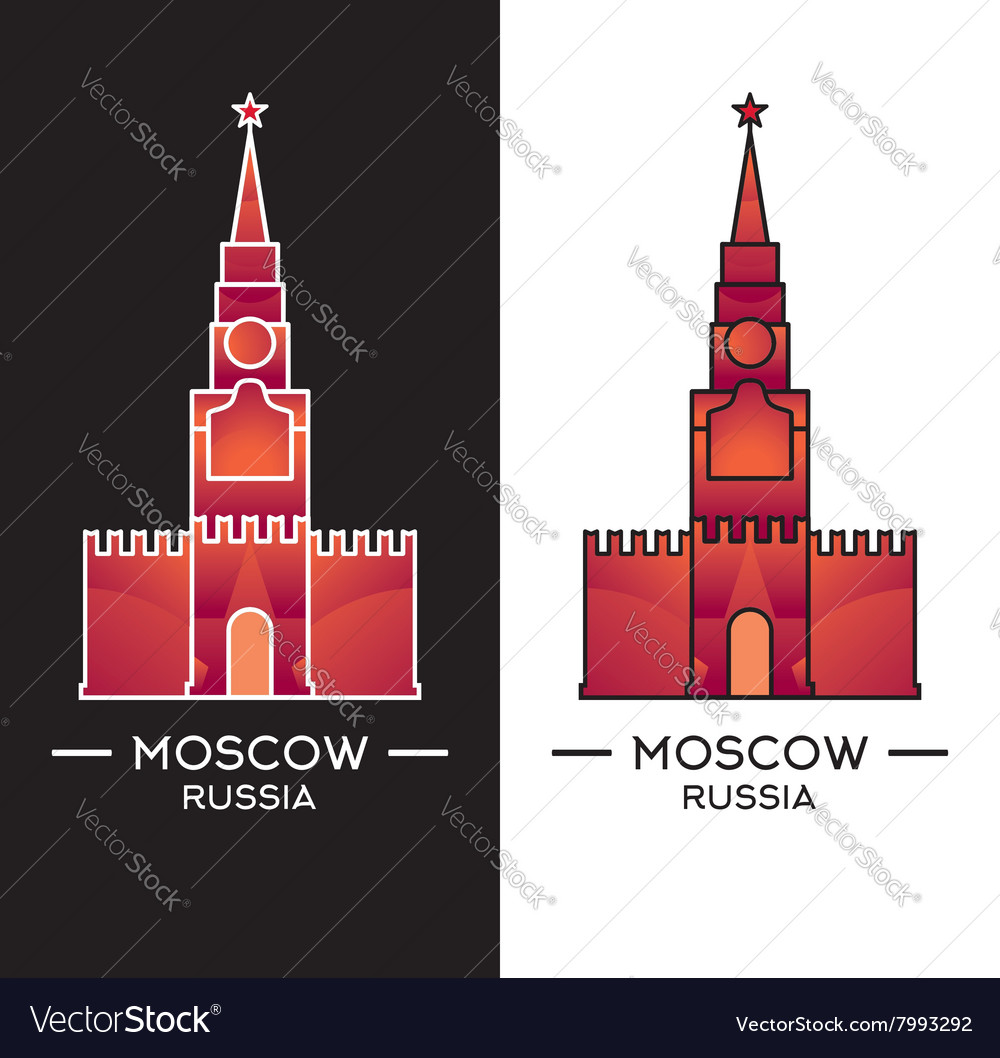 Spasskaya tower isolated on white vector