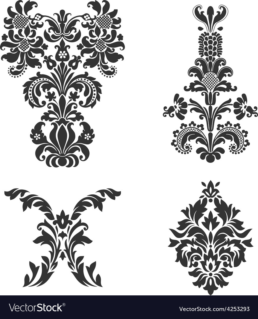 Set of ornamental damask elements vector