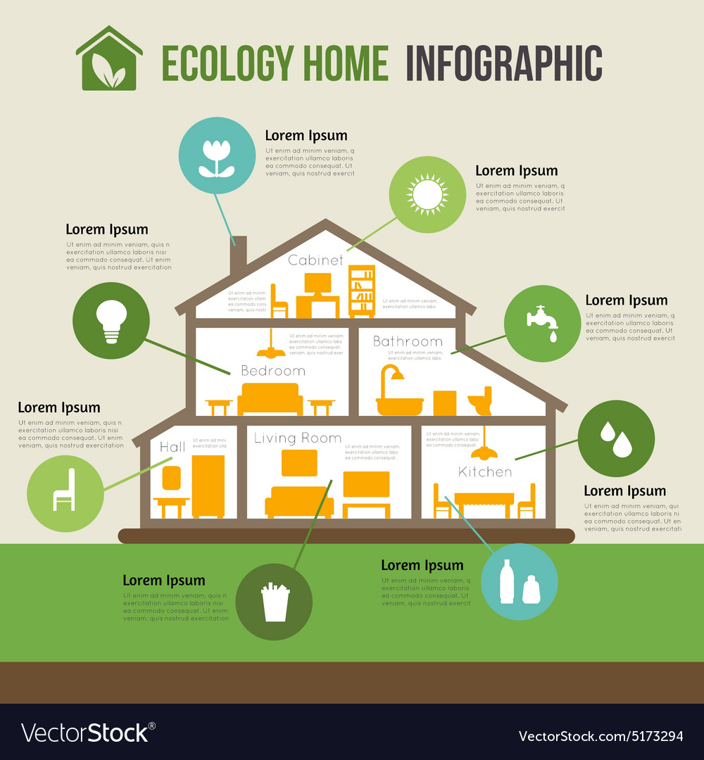 Ecofriendly home infographic vector