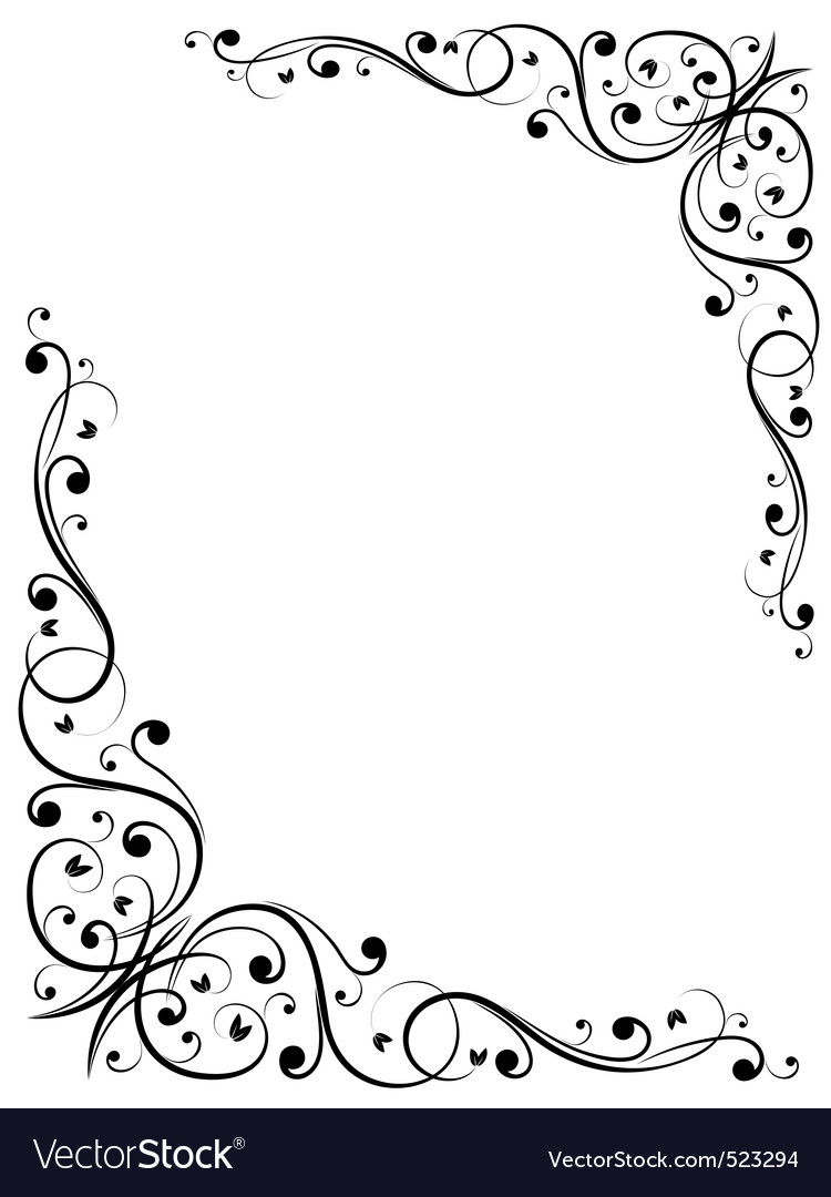 Simple abstract floral bw pattern vector