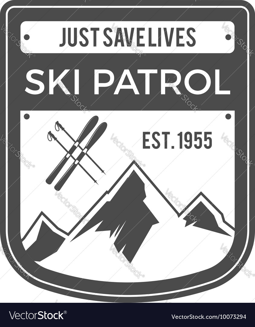 Ski patrol label vintage mountain adventure vector