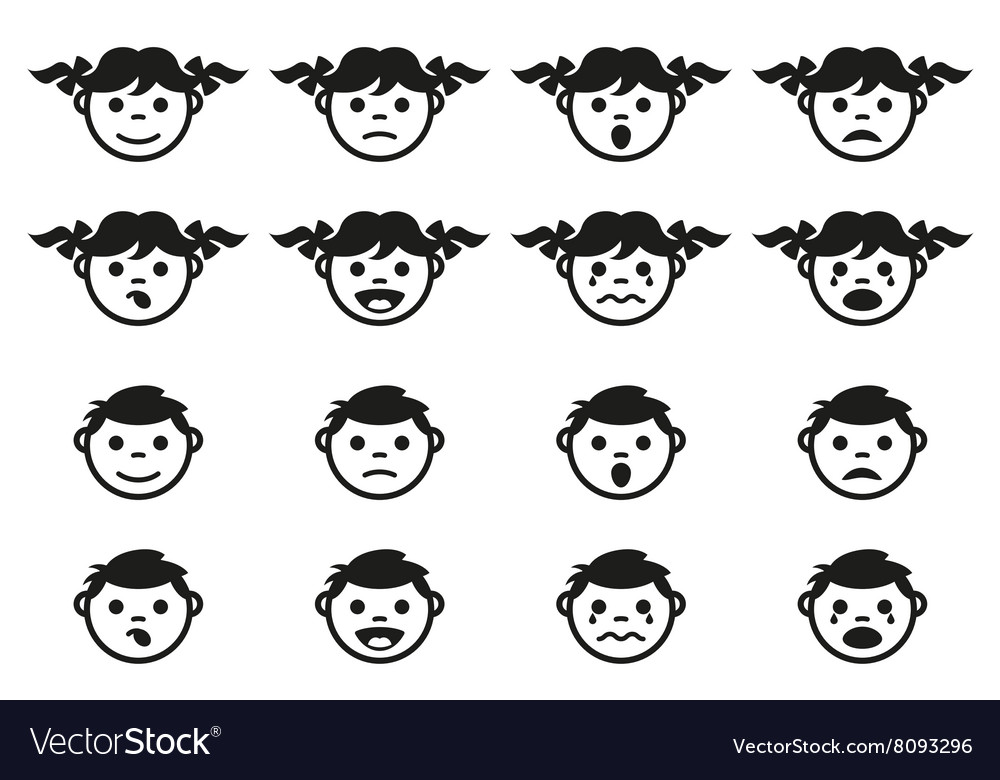 Kid child and baby faces avatars symbols set vector