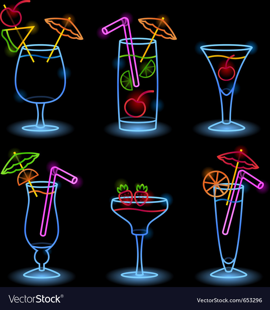 Neon tropical drinks vector