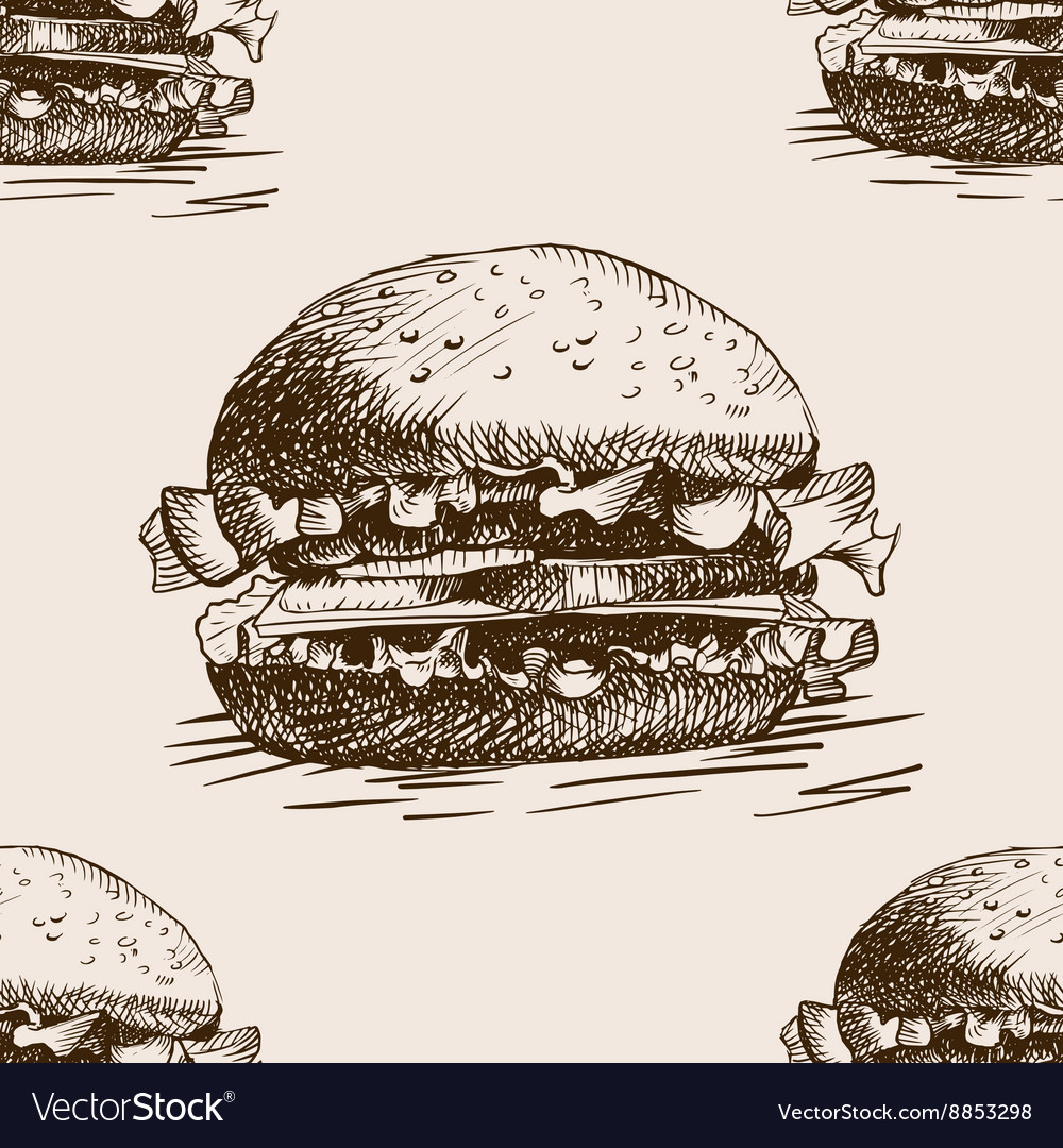 Burger sandwich sketch seamless pattern vector