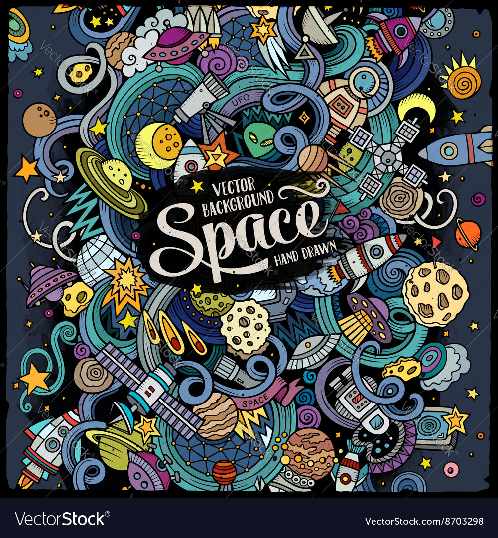 Cartoon handdrawn doodles space vector