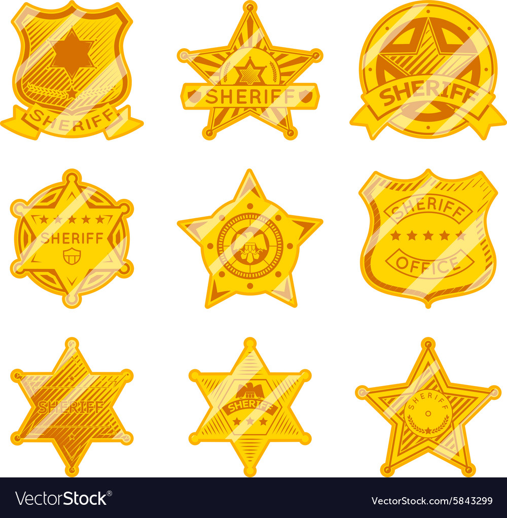 Golden sheriff star badges vector