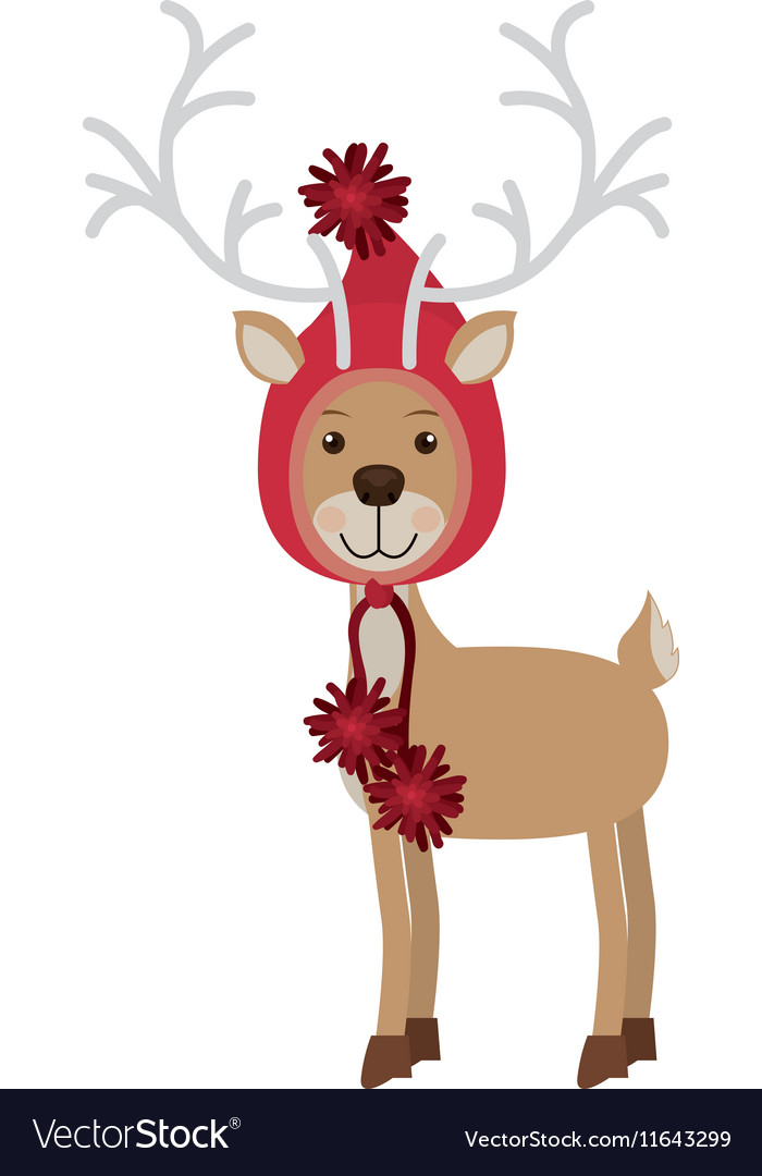 Reindeer with christmas woolen hat shape hood vector