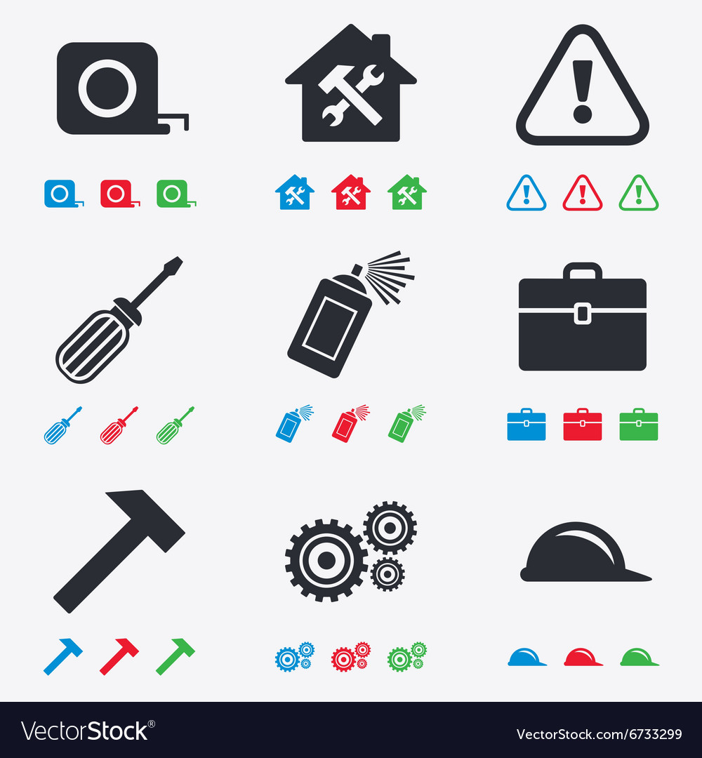 Repair construction icons helmet screwdriver vector