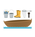 colorful silhouette boat in water waves and set vector image
