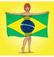 girl behind the brasil flag vector image