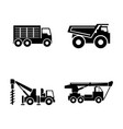 construction vehicles simple related icons vector image